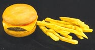 Hamburger and fries created out of foam and coated with Sculpt or Coat